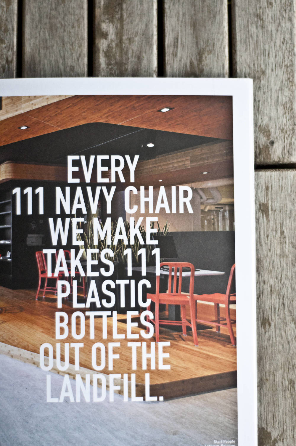Emeco's newly designed 111 Navy product brochure uses bold typography over beautiful images.