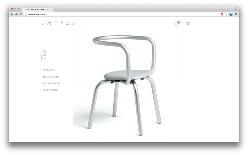 In addition, Bruce Mau and Michael Pecirno collaborated with Young / Skilled on the development and design of Emeco's new e-commerce site.