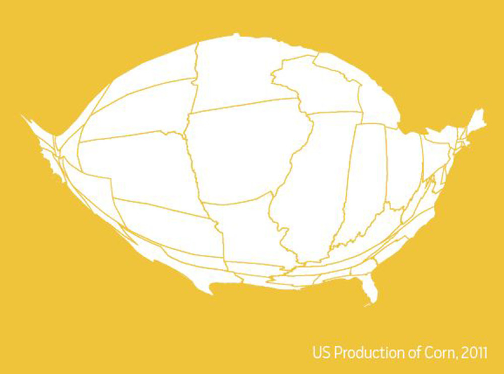 Total corn grown in the USA, 2011
