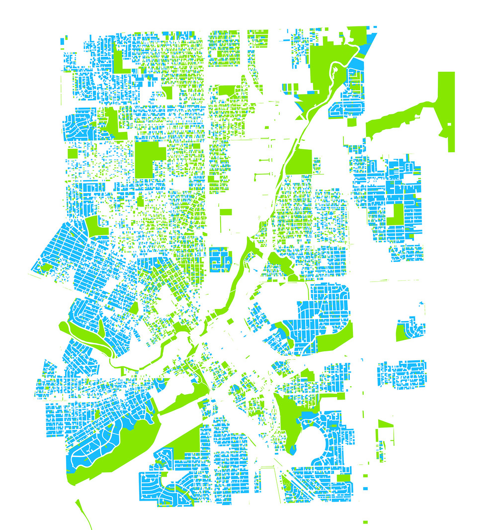 Parks (green) and in-use housing (blue) in Flint, Michigan