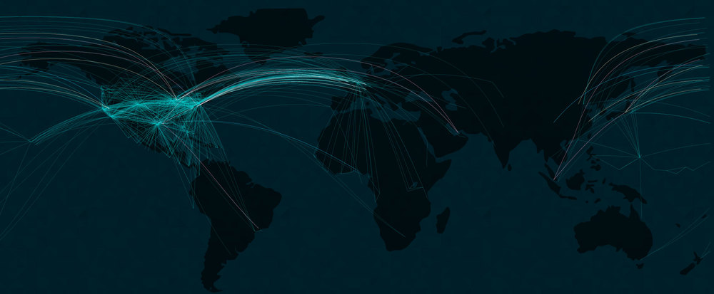 All routes by United Airlines, with my five selected airplanes overlaid.