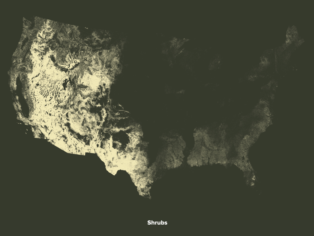 Shrubland in America (2014 Data by USDA)