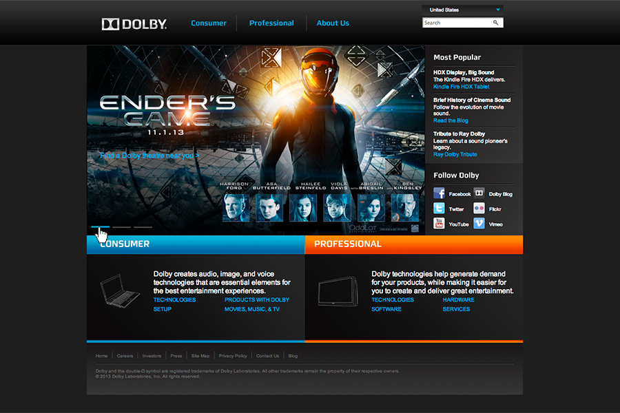 The original Dolby website.