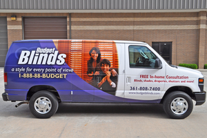 budget blinds houston yelp custom designed partial van wrap for national franchise budget blinds wraps and decals gallery saifee signs houston tx