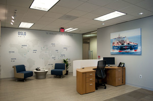 Wall murals wraps saifee signs houston tx custom world map showing companys worldwide office locations reception area wall paper graphics gumiabroncs Choice Image