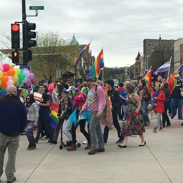 Decorah celebrating it's first Pride parade 🏳️‍🌈 #decorahpride #loveislove
