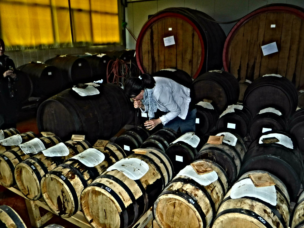 8. Signora Sabrina extracting aged balsamic vinegar of Modena.JPG