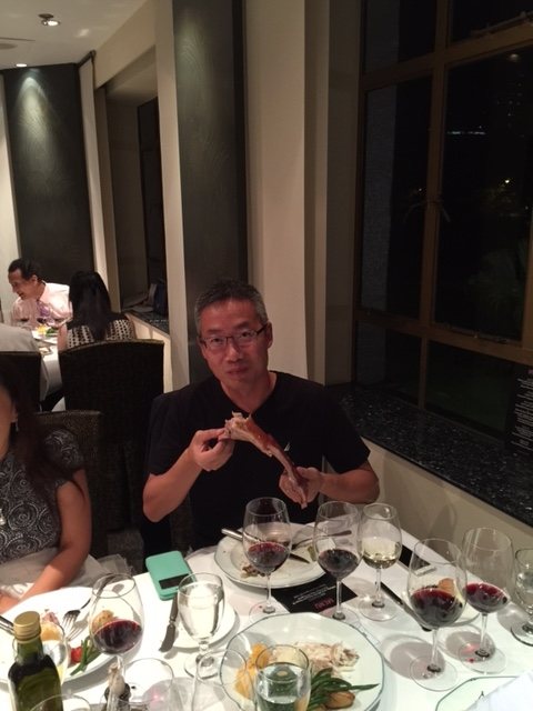 25. Danny Lee pairs his roast lamb with a glass of Villa Gabriella organic Chianti DOCG Riserva wine.JPG