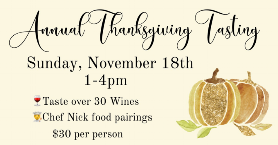 Sunday, November 18th1-4pm - Mark your calendar & meet us at Montage Wine Bar & Spirits for their Annual Thanksgiving Tasting with complimentary sips & snacks from Villa Graziella Organic. Click HERE for more information!