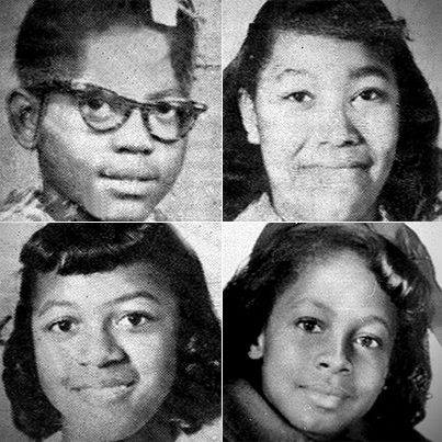 Clockwise from left: Addie Mae Collins (14); Carole Robertson (14); Denise McNair (11);      and Cynthia Wesley (14), the four young women killed on Birmingham Sunday.