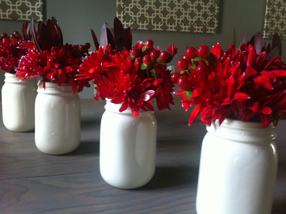 Farm Table With Creamware Floral Red