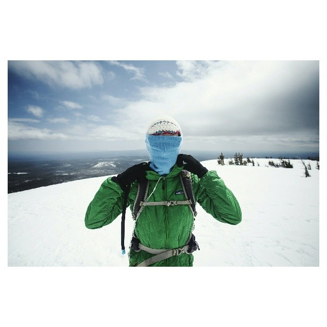 Appropriate attire when you get to the top and the wind nearly knocks you over.  (at Tumalo Mountain Summit)