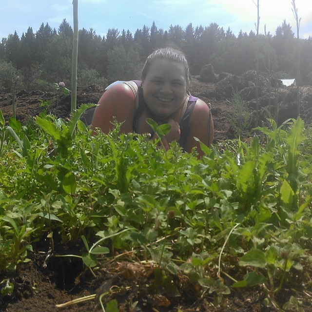 It looks like I'm hiding behind a mountain of weeds in the asparagus!