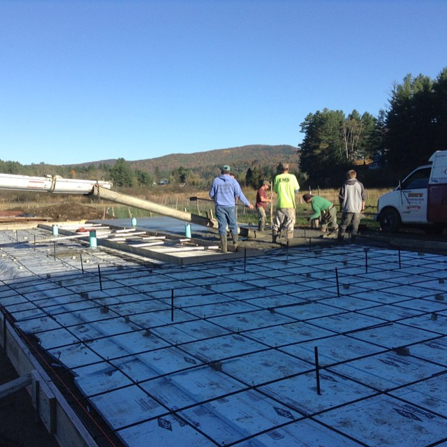 Bob and the boys from Bob's Construction pouring the concrete for the new barn.  Very exciting!