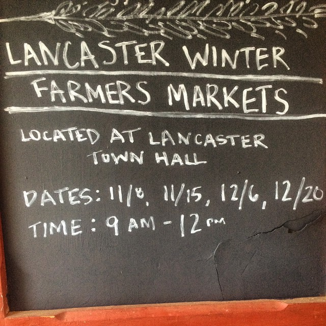 Join us tomorrow at the first winter farmers market in Lancaster. We will have a full selection of pork, eggs, winter squash, carrots, potatoes, salad greens, kale, Swiss chard, onions, radishes, goat cheese, and more!