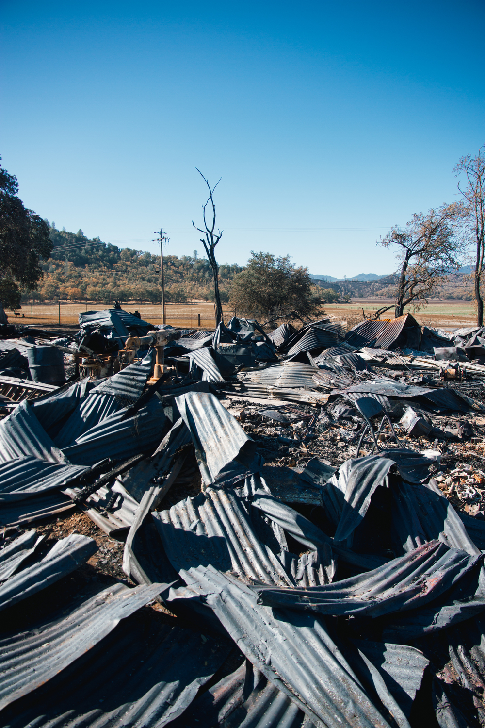 Remnants of a barn destroyed in The Valley Fire