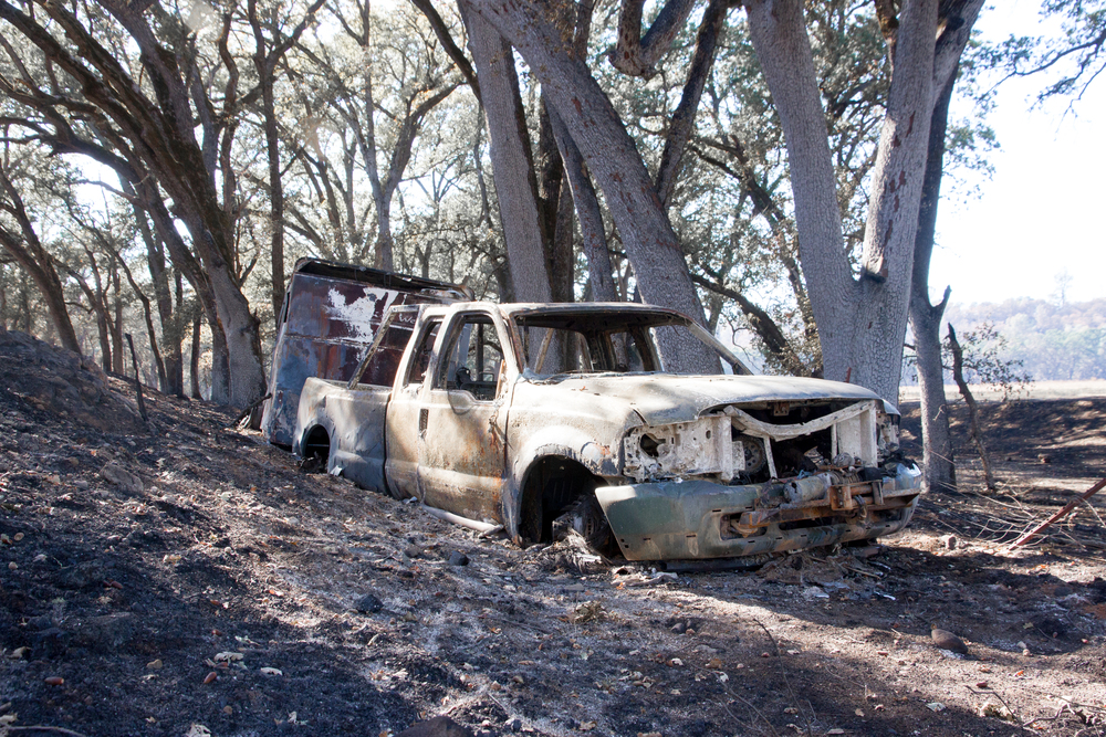 Truck and horse trailer that ran off the road and burned during The Valley Fire.  Horse Trailer had three burned dogs inside.