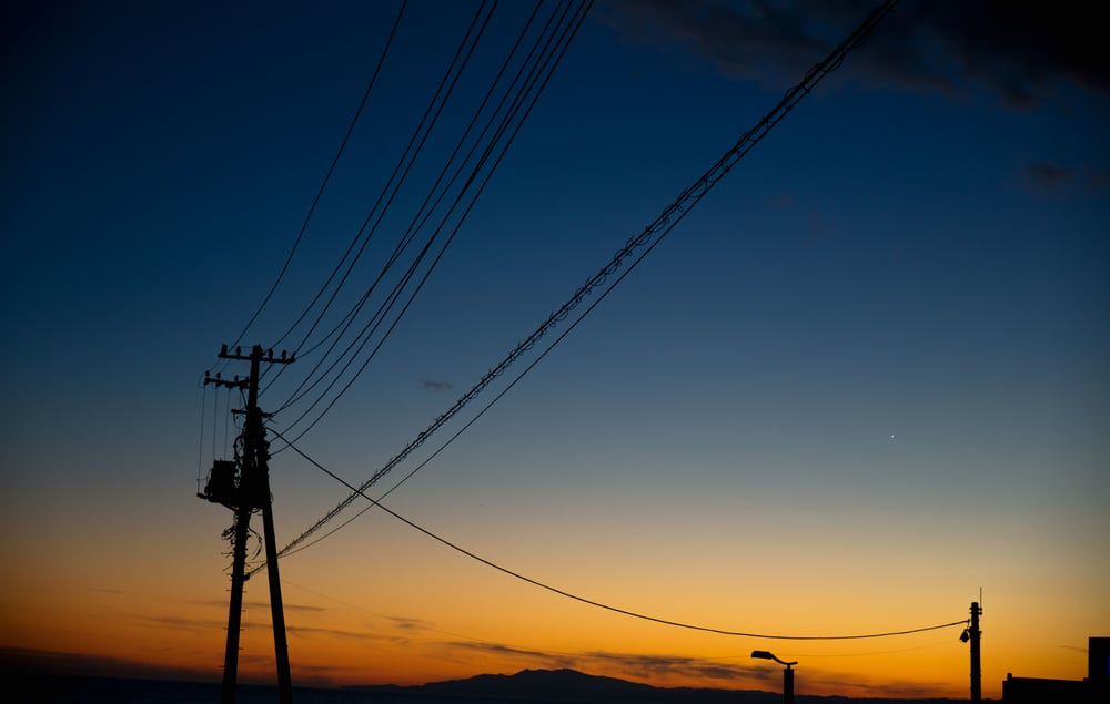 Dawn skies and power lines