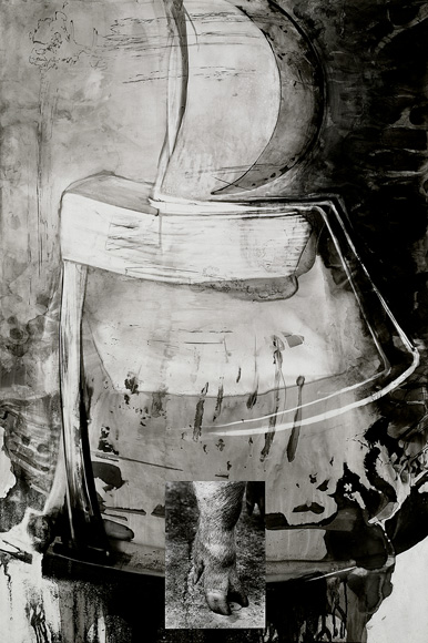 Pier , 1993, ink and photograph on mylar, 39 x 26 inches, Private collection.
