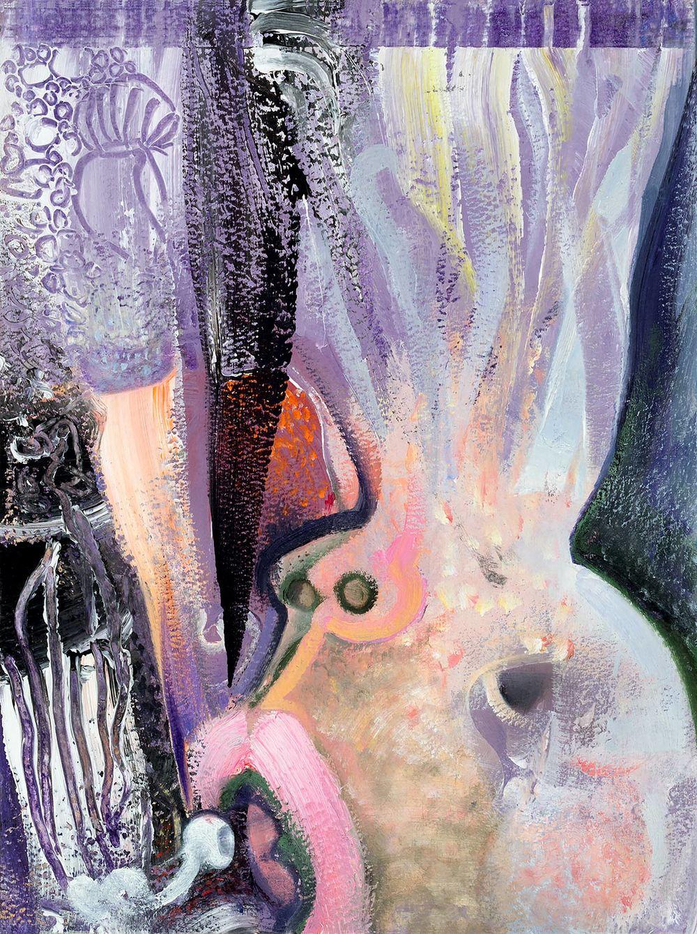 "Brian Wood <br> ""Mercury"" <br> Oil & acrylic on paper <br> 12 x 9 in."