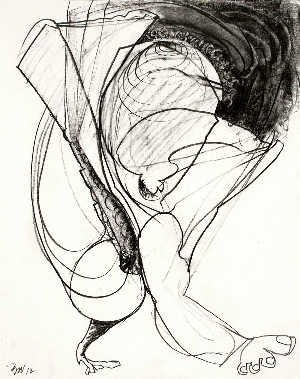 "Brian Wood <br> ""Strut,"" 2012 <br> Graphite on paper <br> 14 x 11 in."