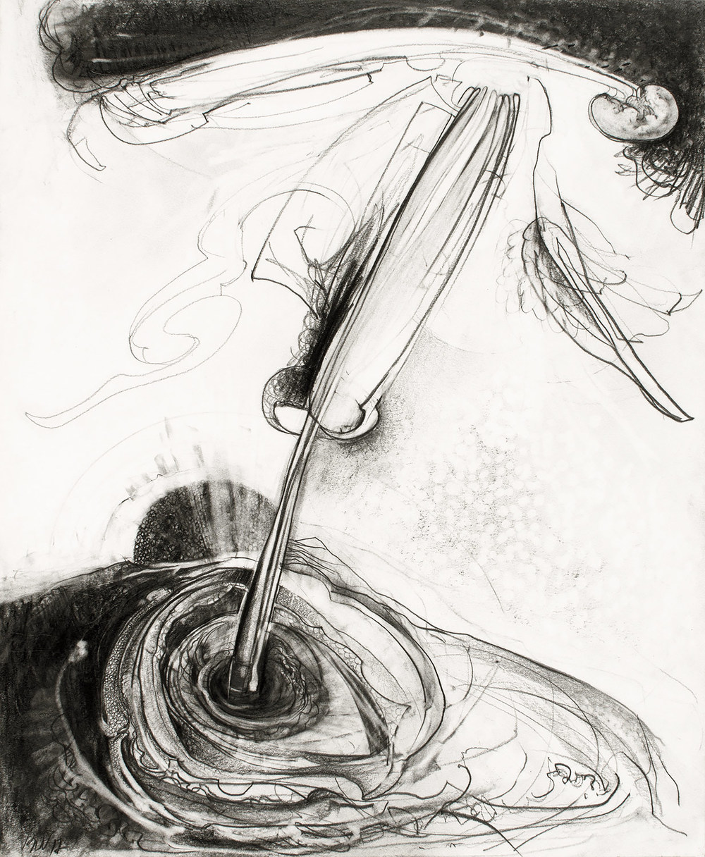"Brian Wood <br> ""Pequod,"" 2012 <br> Graphite on paper <br> 17 x 14 in."
