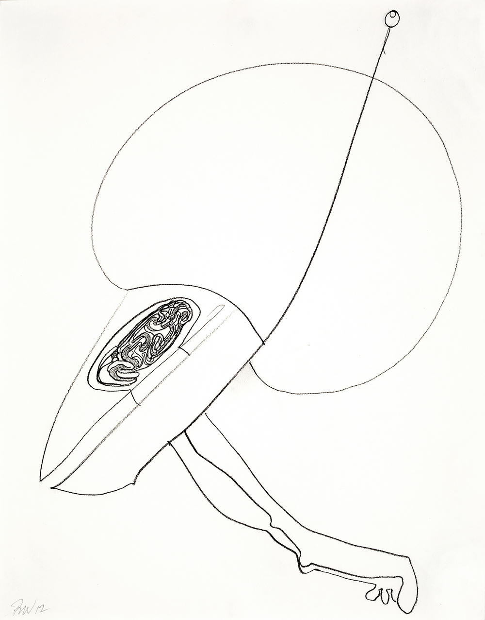 "Brian Wood <br> ""Opal,"" 2012 <br> Graphite on paper <br> 14 x 11 in."