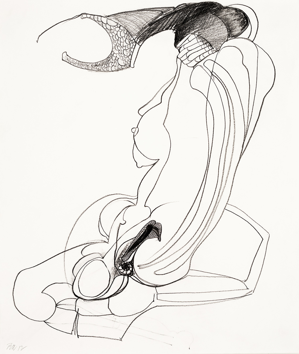 "Brian Wood <br> ""Enceinte,"" 2012 <br> Graphite on paper <br> 17 x 14 in."
