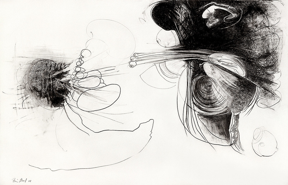 "Brian Wood <br> ""Torque,"" 2008 <br> Graphite on paper <br> 26 x 46 in."