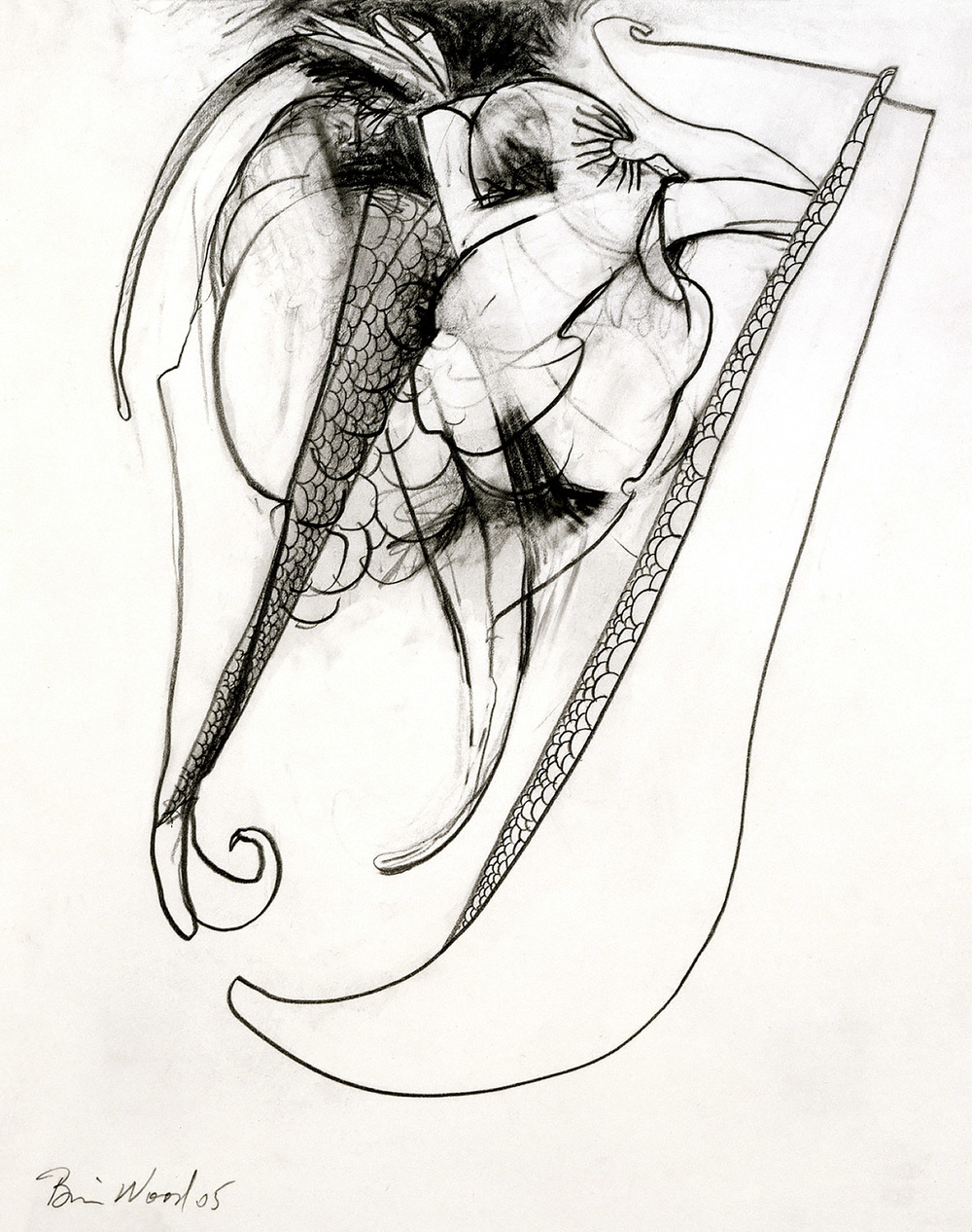 """Brian Wood <br> """"Hook"""" <br> Graphite on paper <br> 14 x 11 in."""