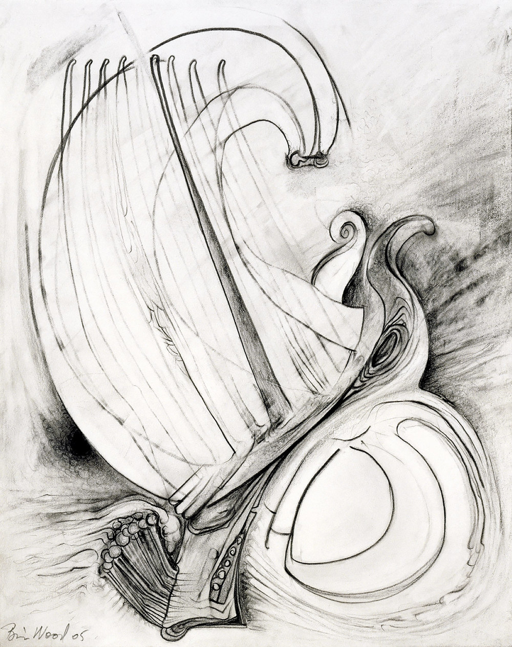 """Brian Wood <br> """"Vent"""" <br> Graphite on paper <br> 14 x 11 in."""