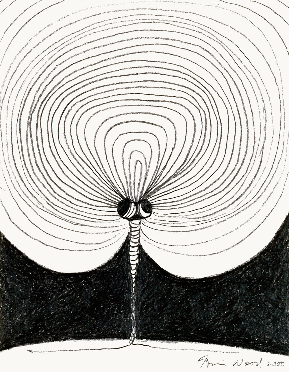 "Brian Wood <br> ""View,"" 2000 <br> Graphite on paper <br> 11 x 8.5 in."