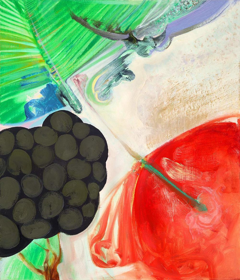 Brian Wood <br> Sine, 2015 <br> Oil on wood <br> 14 x 12 in.