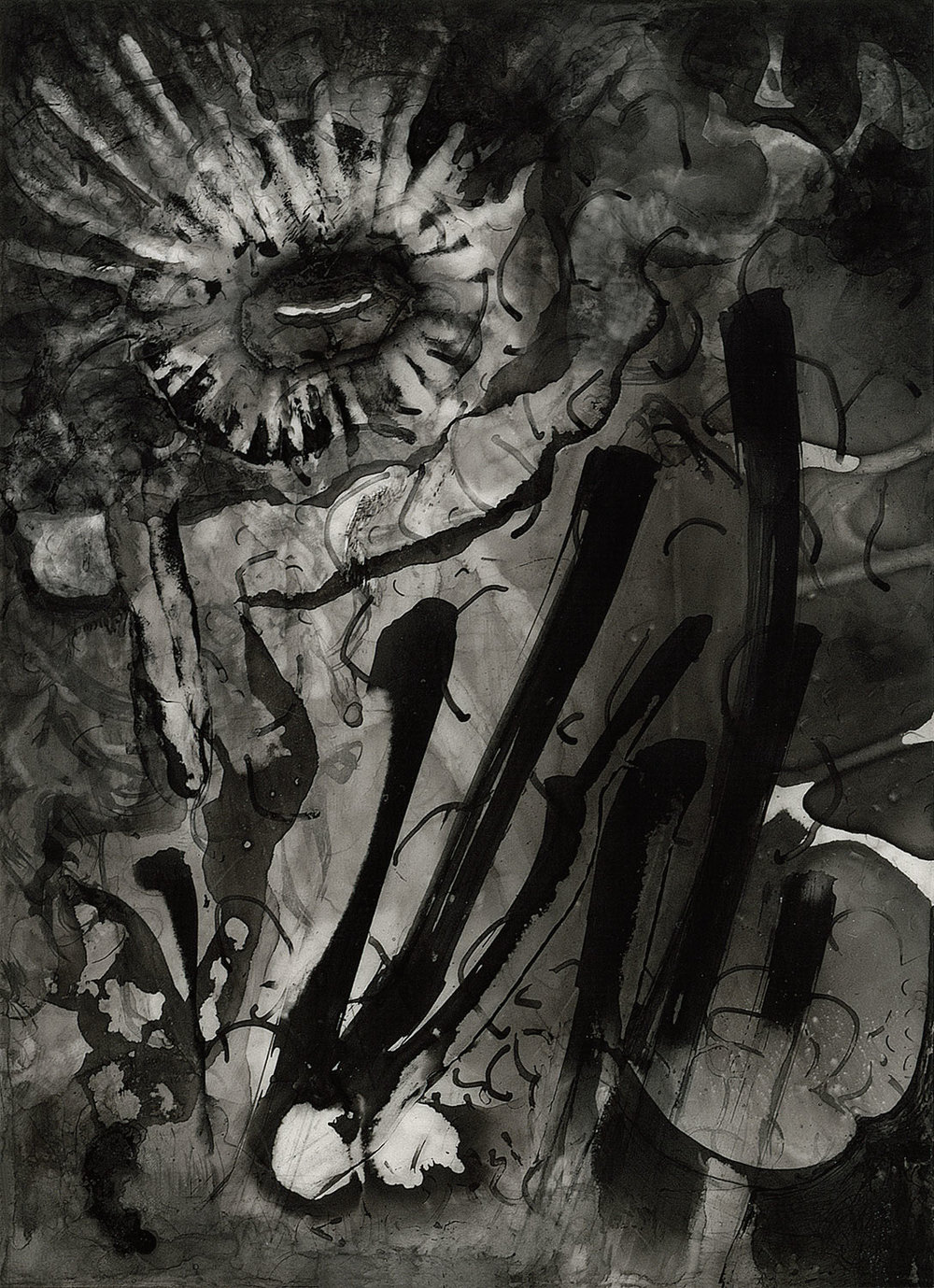"Brian Wood <br> ""Burst,"" 2001 <br> Ink on mylar <br> 8 x 6 in."