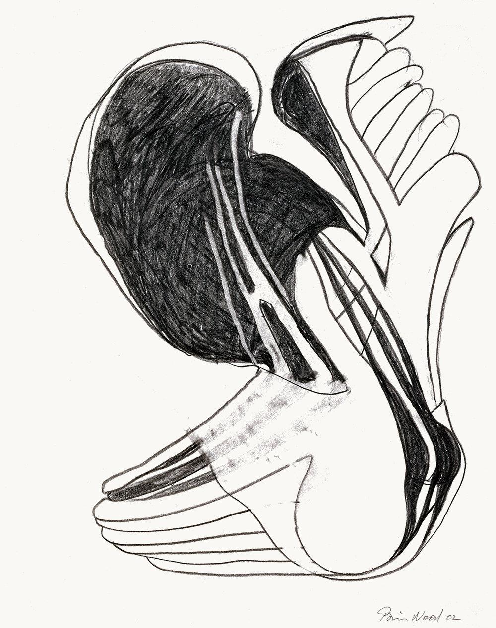"Brian Wood  ""Plummet,"" 2002  Graphite on paper  14 x 11 in."