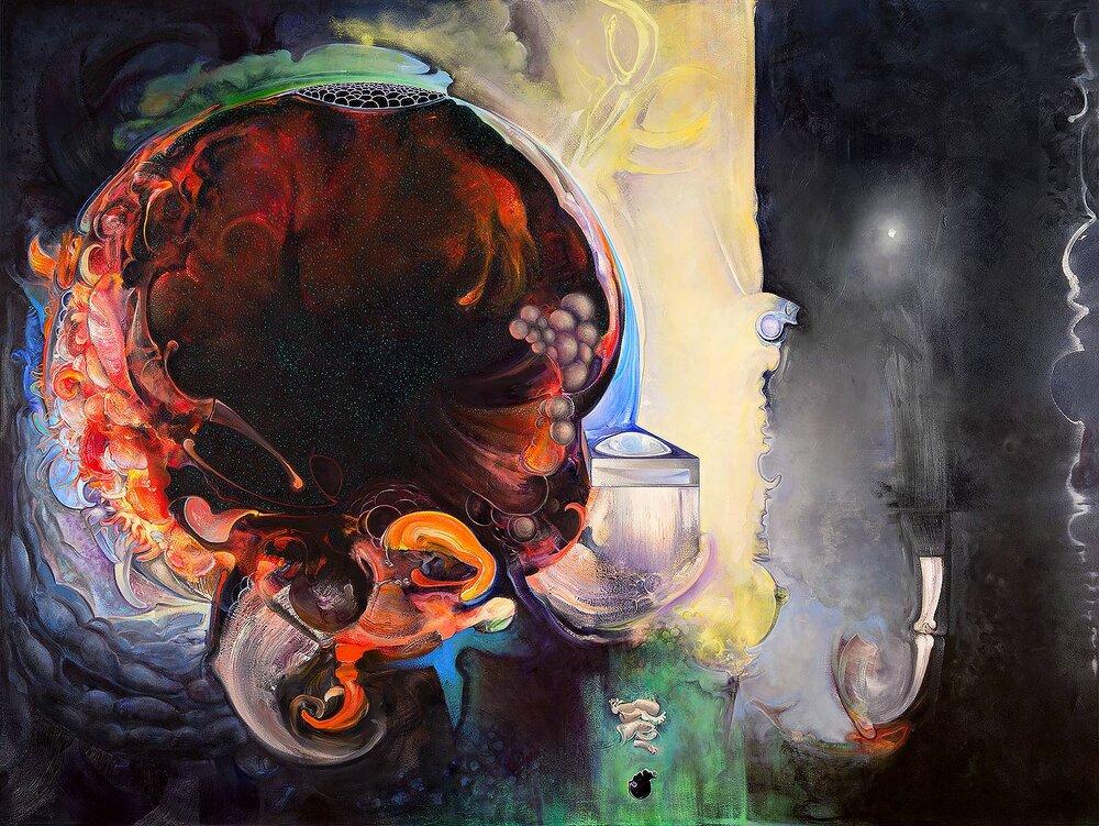 "Brian Wood <br> ""Boson"" <br> Oil on canvas <br> 72 x 96 in."