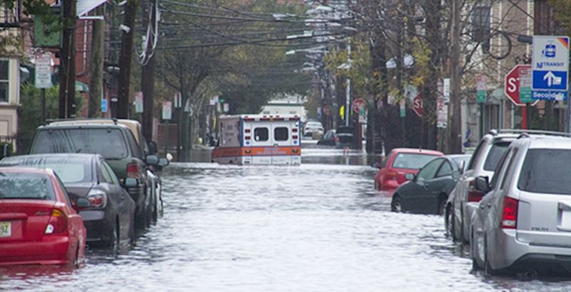 Flooding in Hoboken, N.J., after Hurricane Sandy in late 2012. New legislation would allow private carriers to offer flood insurance. Image: Jean-Paul Picard/Fund for a Better Waterfront.org