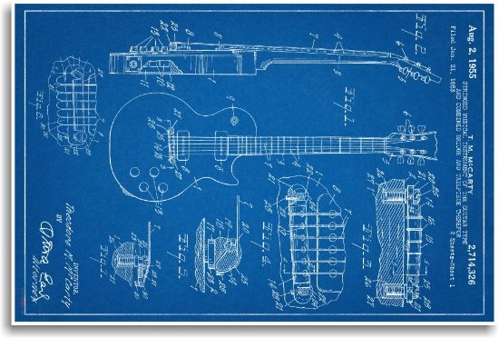 Gibson Les Paul Guitar Patent - Blueprint
