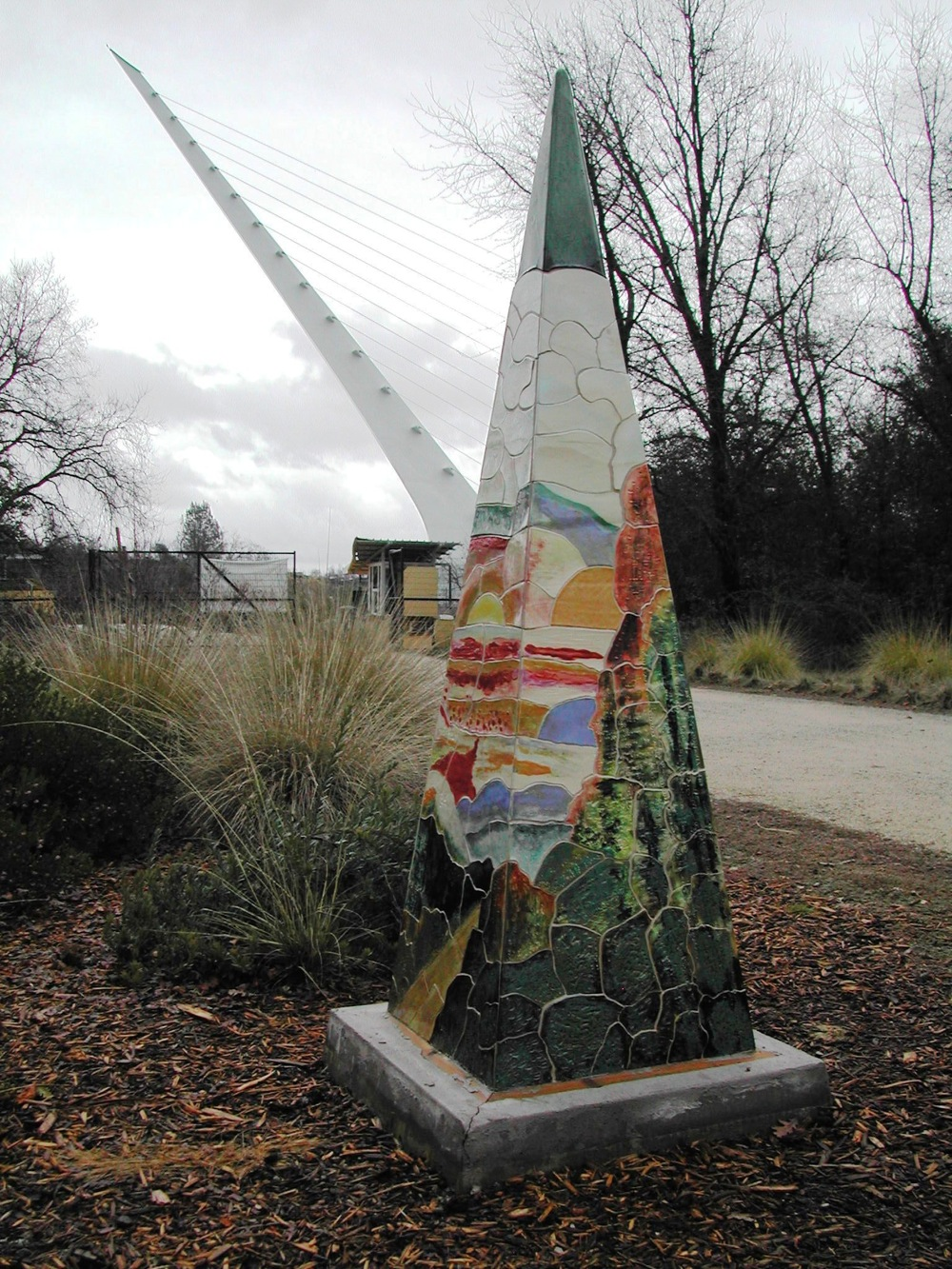 Pyramid with Sundial Bridge in background. Cross the bridge and enter McConnell Arboretum and Gardens to view these closeup.