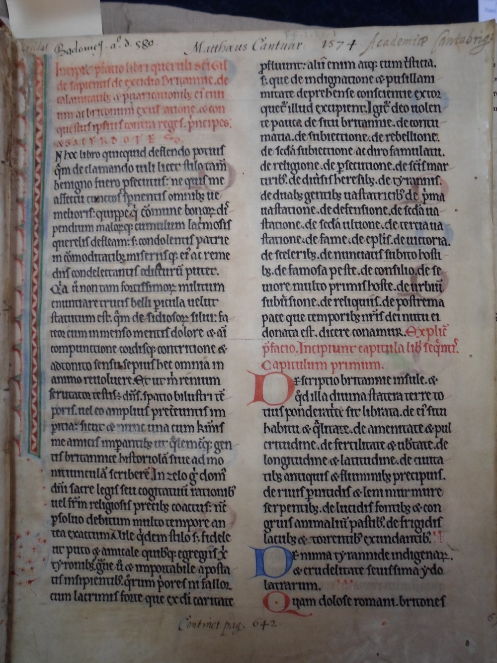 Incipit ,  praefatio , and  capitula  of Gildas'  De excidio Britanniae  in Cambridge, UL FF.I.27