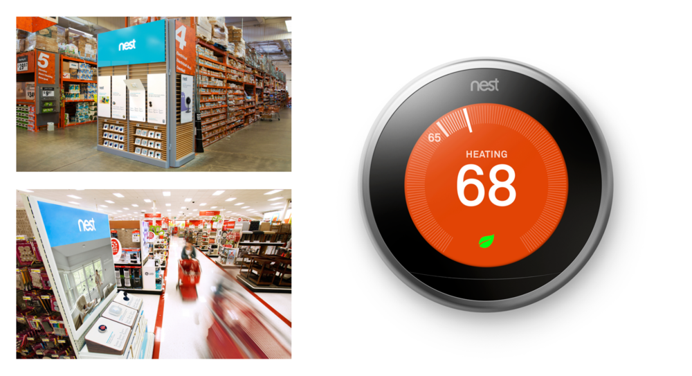 Nest, the wildly successful thermostat innovator, came to US to bring their instore, partner rebate program to life. The trick was how to satisfy the promotional needs of the campaign while staying true to the clean, modern look that Nest is known for. We began by creating a customized system of iconography that was both eye catching and functional. The playful icons were then applied to our in-store displays, signage, tear cards and more. The program smartly cut through the retail clutter while still maintaining Nest's desire for sleek and beautiful design.  Nest enjoyed working with us so much they retained our services the following year to help them through an ambiguous year that includes growing their product portfolio and global reach.