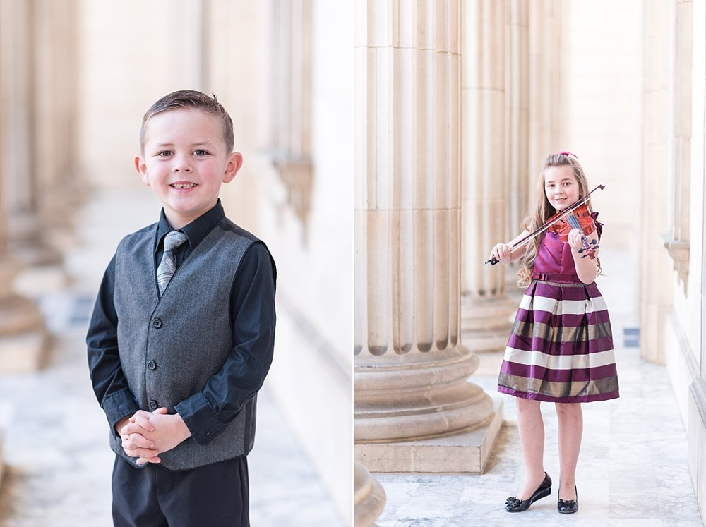Christmas Family Session with vintage columns and marble floors maroon and gold dresses_0027.jpg