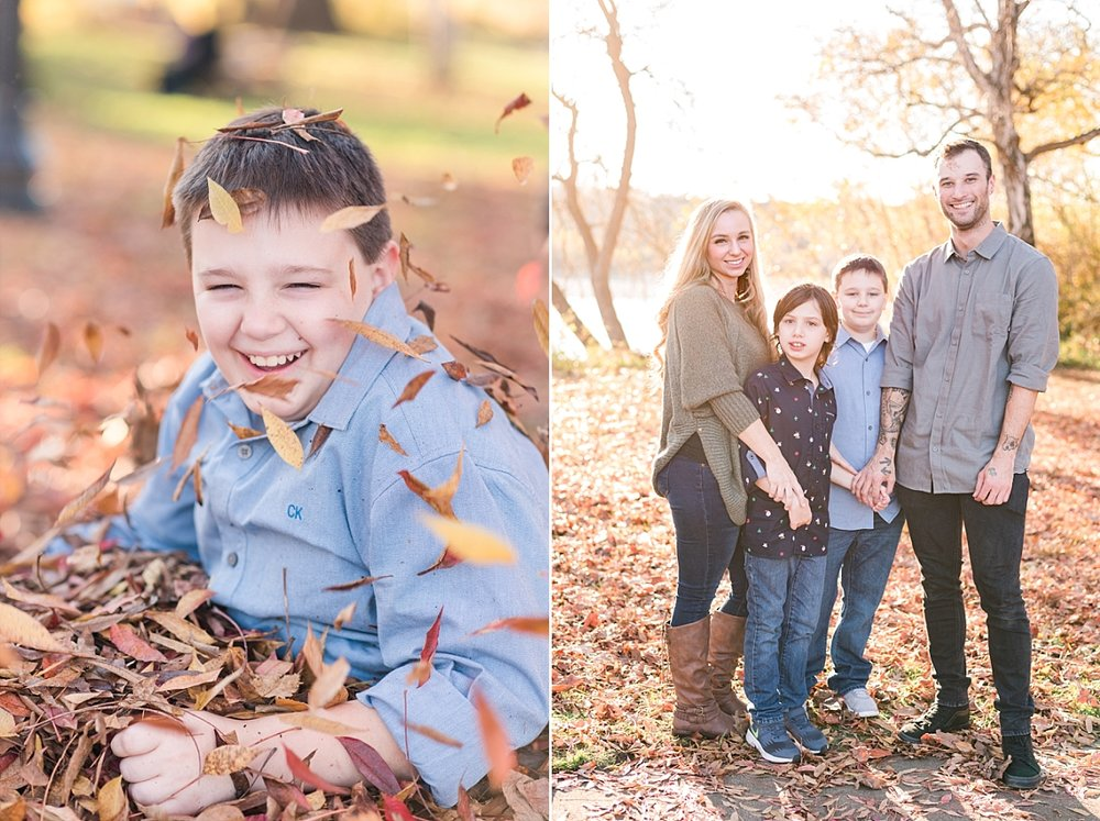 The Calciano Family! And Ryland coming up out of the leaves after he was buried in them. :)