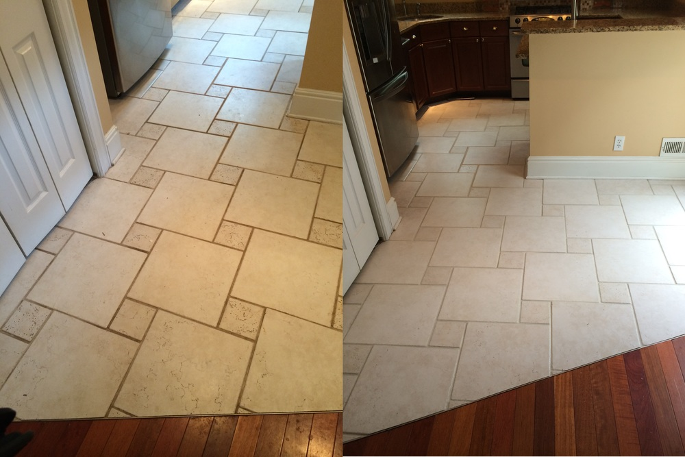 Before & After tile floor cleaned and grout color-sealed
