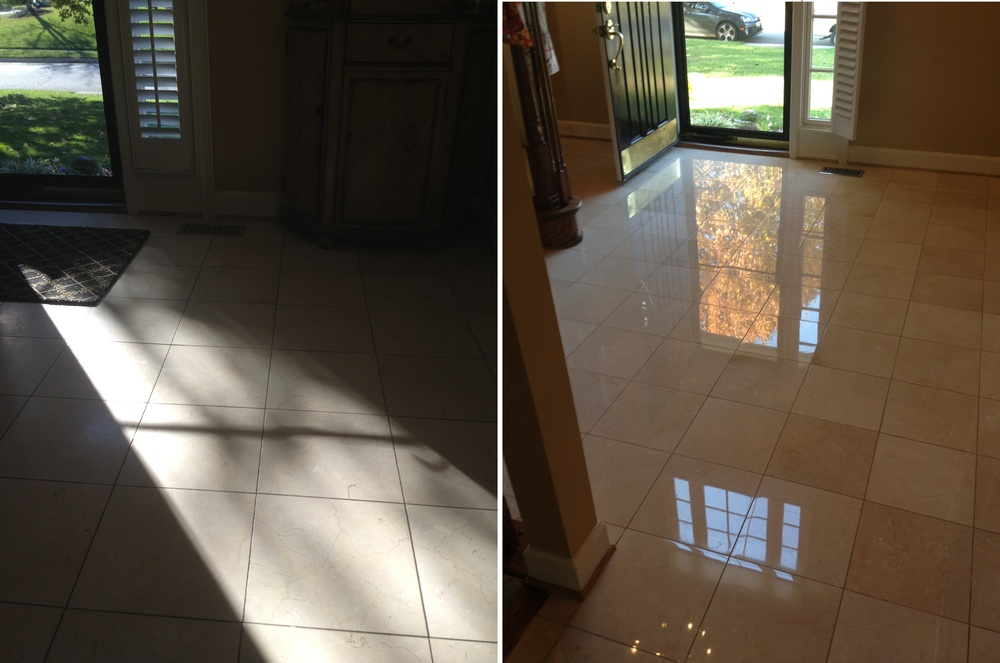 Polished Marble Foyer Before and After