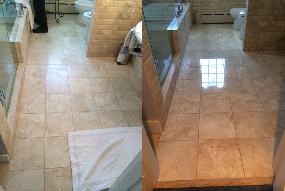 Polished Travertine Bathroom Before & After