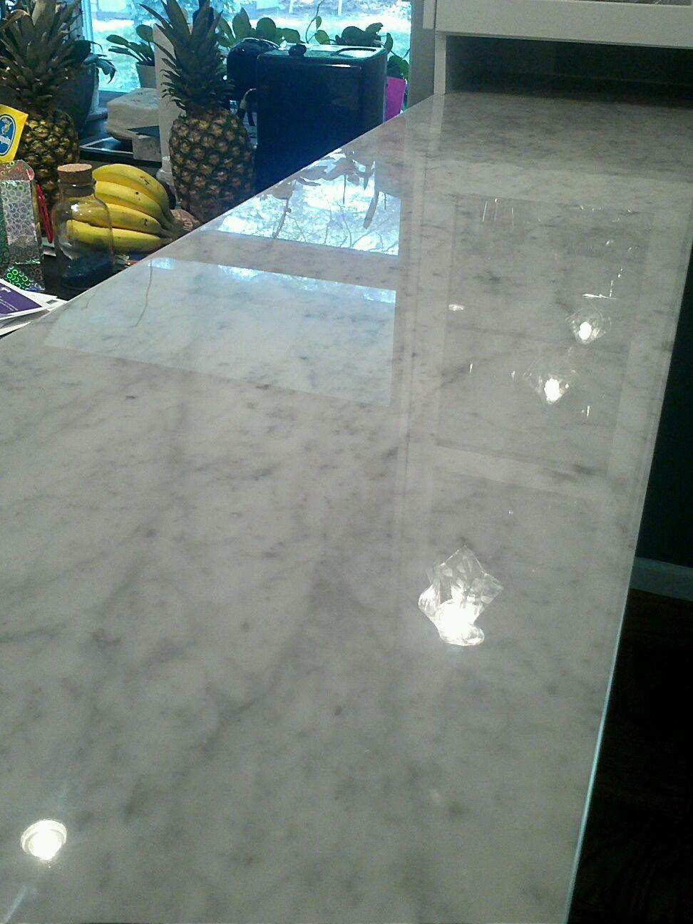 Polished White Carrera Marble Bar Top