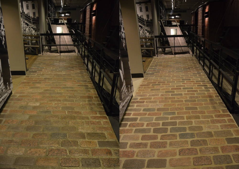 Before & After Granite Cobblestones from Warsaw Ghetto in the United States Holocaust Memorial Museum
