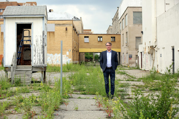 "After 20 years, Robert Elmes is moving the Brooklyn-based Galápagos Art Space to Detroit. ""I want to develop artists, not destroy them, and they simply can't afford to live and work there anymore,"" he said.  FABRIZIO COSTANTINI FOR THE NEW YORK TIMES"