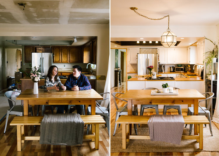 This is by far my favorite before & after comparison. Look at that kitchen space!! It's like something straight out of a magazine.